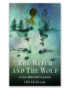poetry book cover of blue green water color of a woman, a waterfall, and a wolf