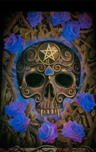 Image of the Ace of Skulls from The Tarot of Vampyres tarot deck